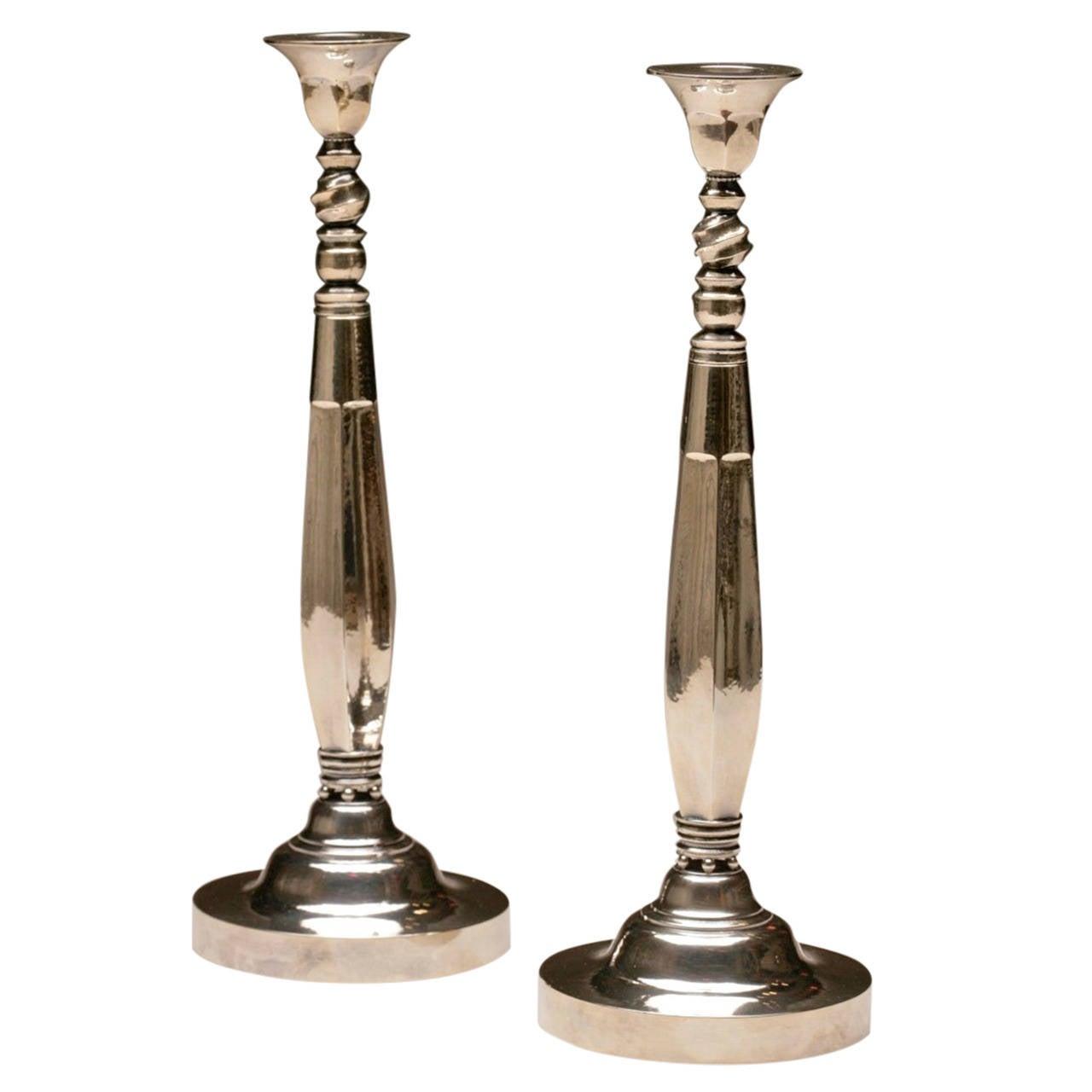georg jensen candlesticks no 441 by johan rohde at 1stdibs. Black Bedroom Furniture Sets. Home Design Ideas