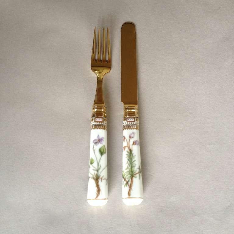 Flora Danica Porcelain Handle Fork And Knife Dessert Set