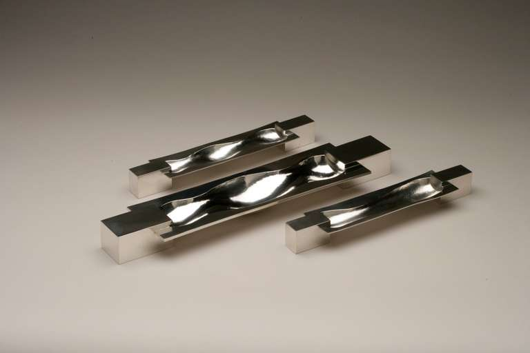 Post-Modern Per Sax Moller Set of Three Contemporary Sterling Silver Bowls For Sale
