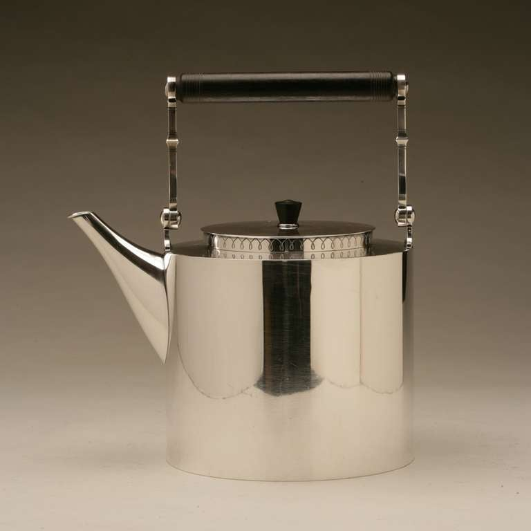 Hans Hansen very rare, extra large sterling silver tea pot by Karl Gustav Hansen, no. 358. Hallmark dates piece to 1956.