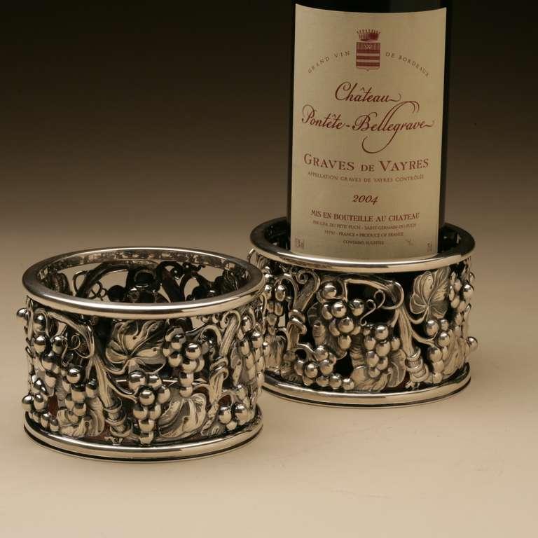 Art Nouveau Evald Nielsen Sterling Silver Wine Coasters For Sale