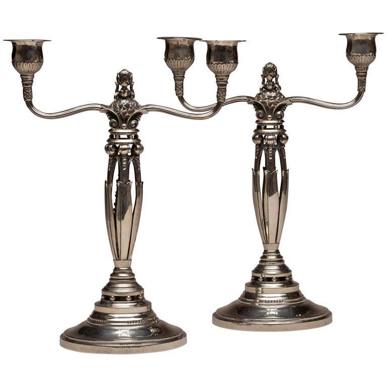 georg jensen candelabra by johan rohde for sale at 1stdibs. Black Bedroom Furniture Sets. Home Design Ideas