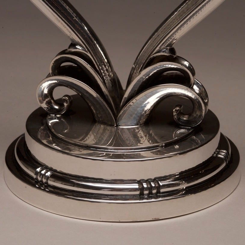 Evald Nielsen Sterling Silver Pair of Art Deco Candelabras In Excellent Condition For Sale In San Francisco, CA
