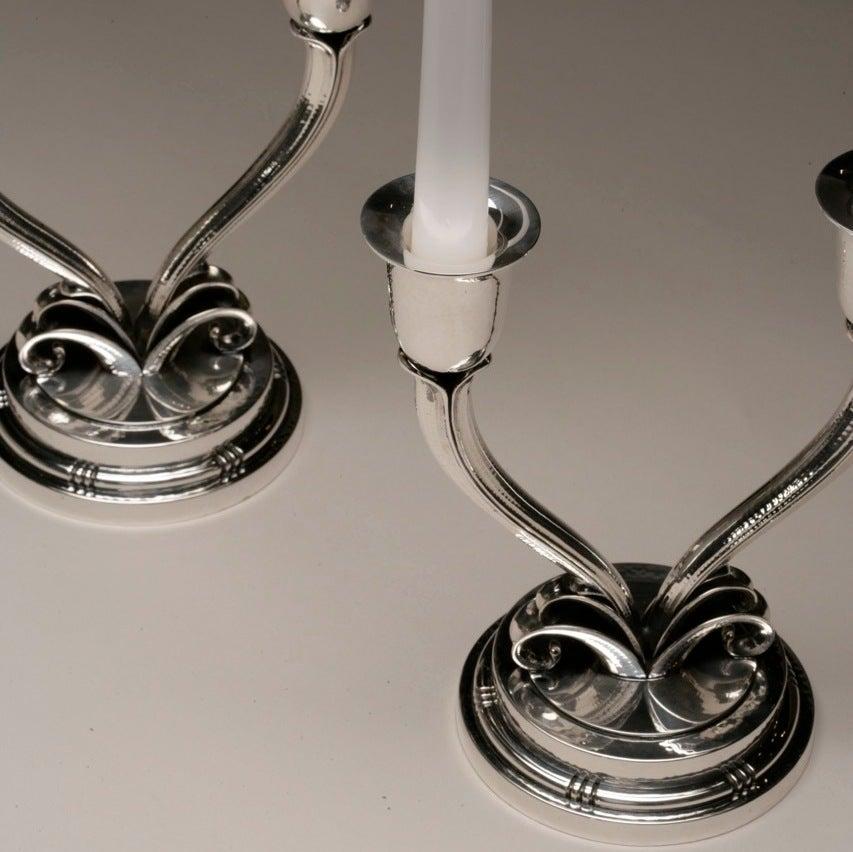 Danish Evald Nielsen Sterling Silver Pair of Art Deco Candelabras For Sale