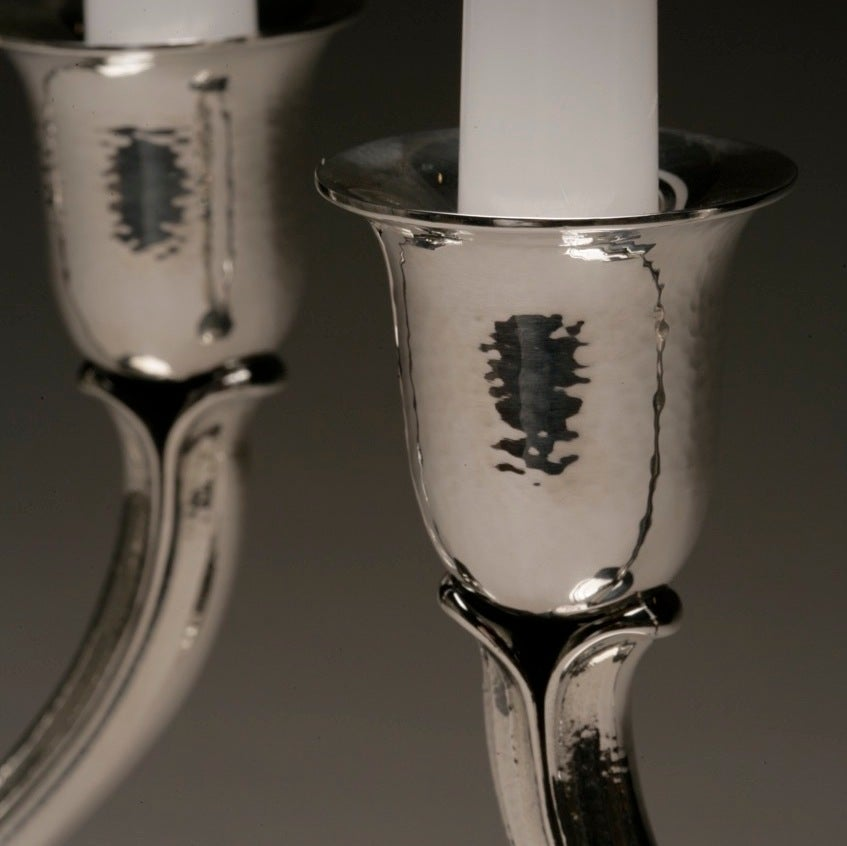 Contemporary Evald Nielsen Sterling Silver Pair of Art Deco Candelabras For Sale
