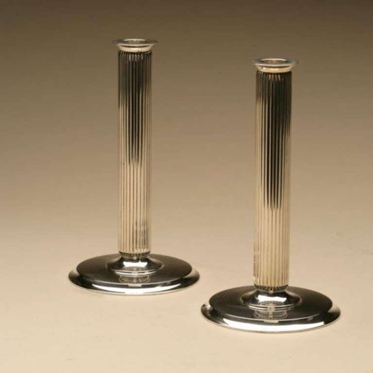 georg jensen candlesticks no 855e by sigvard bernadotte. Black Bedroom Furniture Sets. Home Design Ideas