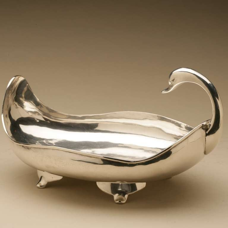 "Mexican Sterling Silver ""Swan"" Centerpiece Bowl by Zurita 2"