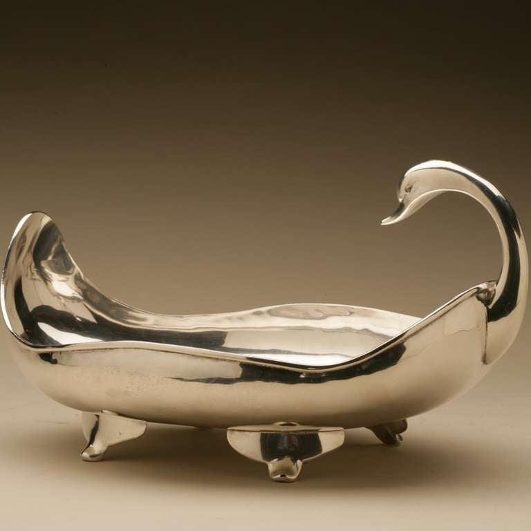 "Mexican Sterling Silver ""Swan"" Centerpiece Bowl by Zurita 3"