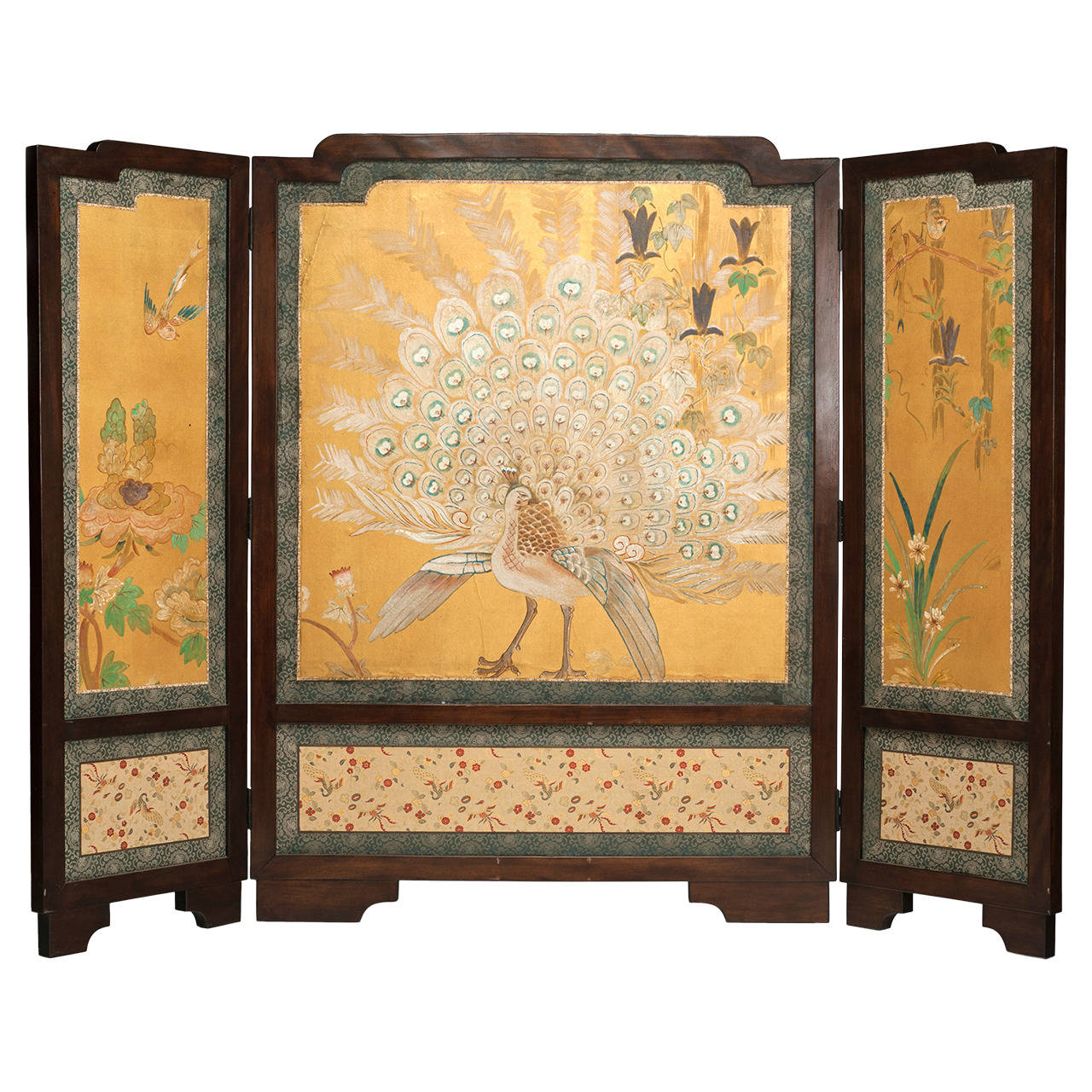 Art Nouveau Chinese Three-Panel Screen with White Peacock For Sale ...