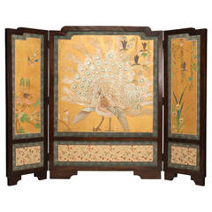 Art Nouveau Chinese Three-Panel Screen with White Peacock
