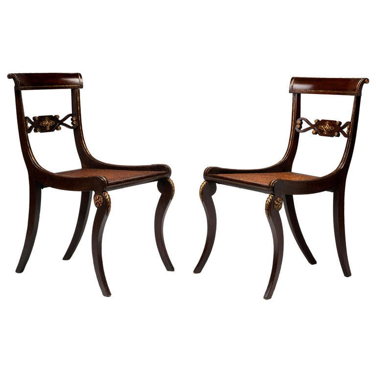 A Pair Of 19th Century English Regency Ormolu Mounted Side Chairs In The  Manner Of