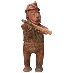 Pre-Columbian Terracotta Sculpture of a Shaman Warrior