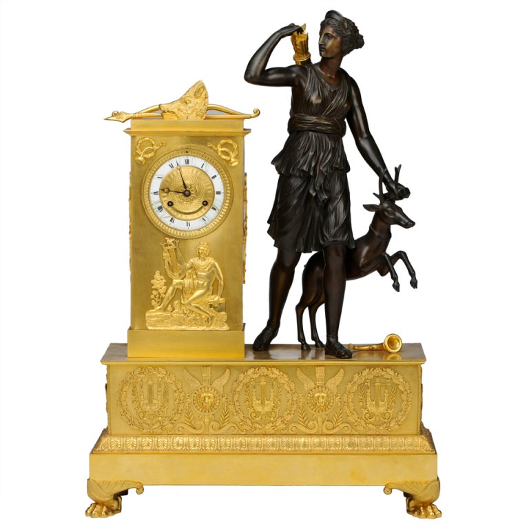 French Empire Figural Mantel Clock of Diana the Huntress, c. 1830