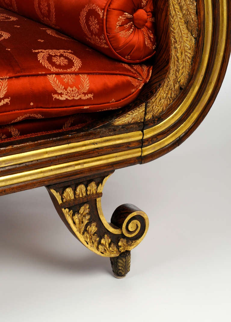 Carved And Parcel Gilt Neoclassical Recamier From A Design