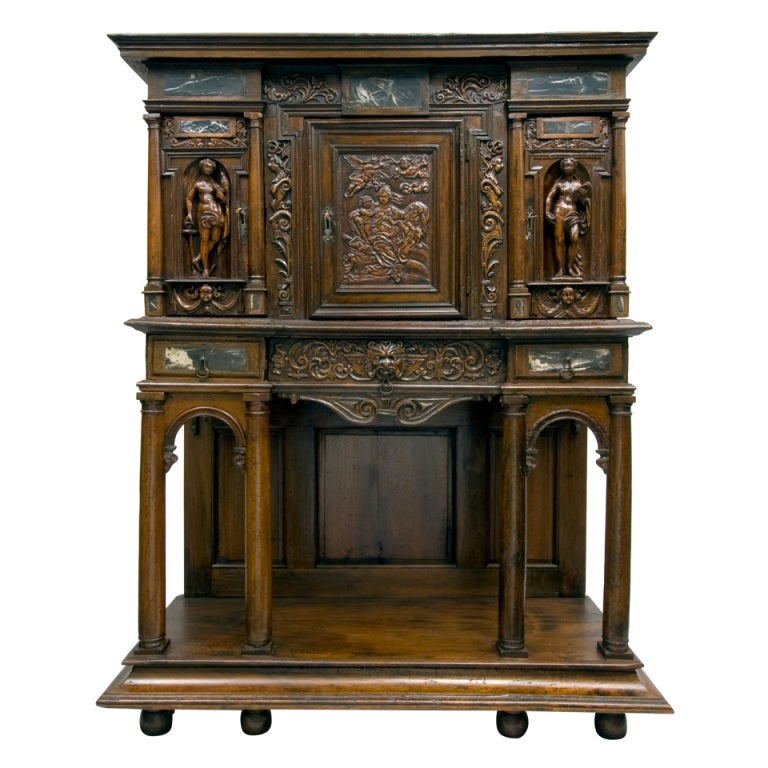 Very Rare And Important 16th C. French Renaissance Cabinet Or Dressoir, C.  1580