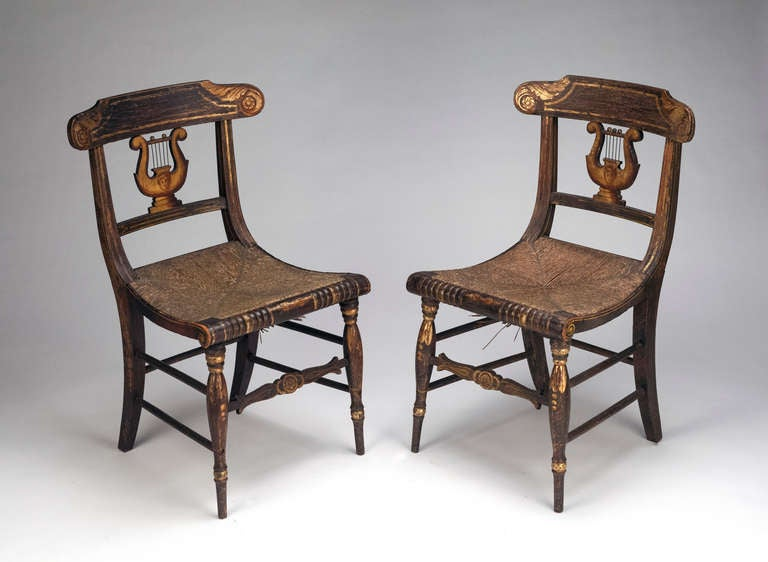 Pair of american federal painted lyre back chairs for sale at stdibs. Antiques For Antique Harp Back Chairs 1940   www antiqueslabs com