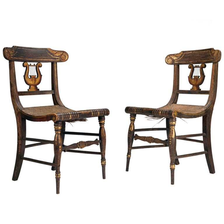 Beau Pair Of American Federal Painted Lyre Back Chairs For Sale