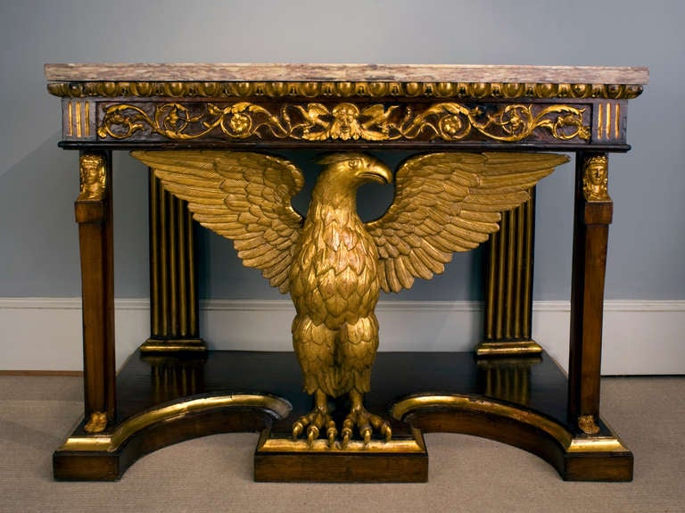 Amazing Tuscan Neoclassical Pier Table With Eagle Motif, Circa 1820 2