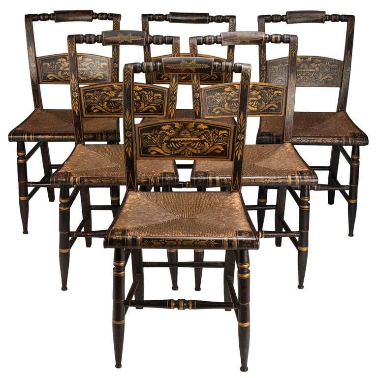 Set Of Six Hitchcock Side Chairs, Circa 1850 1