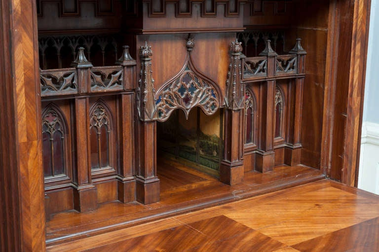 A Major Architectonic German Mahogany Fall Front Desk Of