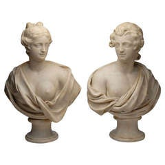 Pair of Marble Busts; Male and Female