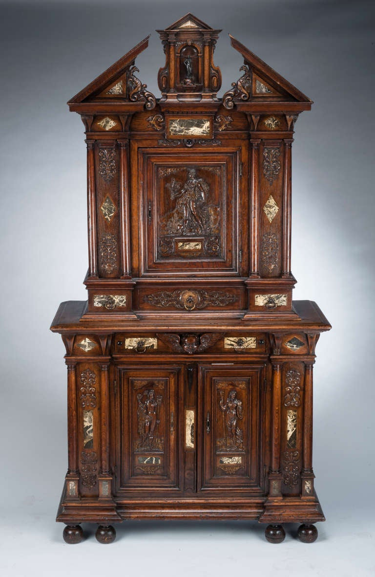 16th Century French Renaissance Walnut And Marble Inlay
