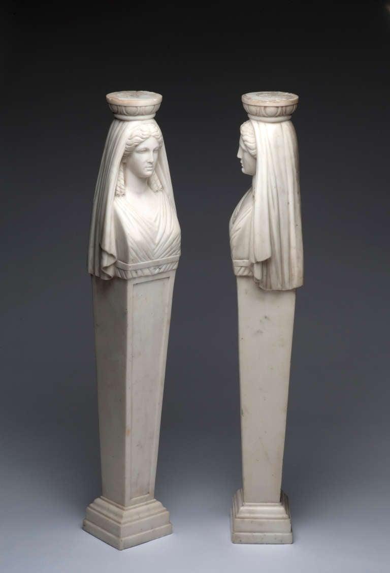 Pair Of Neoclassical Caryatid Marble Columns At 1stdibs