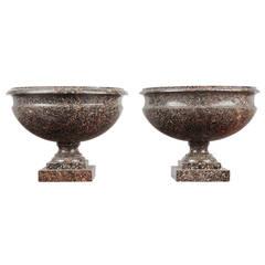 Pair of Swedish Porphyry Urns