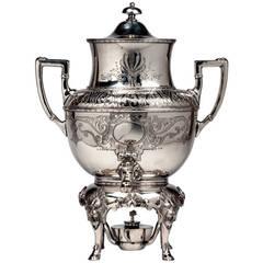 Ornate 19th Century Style of Meriden Quadruple Plate Silver Etched Samovar