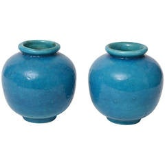 Pair of Egyptian Blue Faience French Vases, circa 1930
