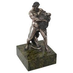 "Silver Sculpture ""Hercules and the Nemean Lion"" Russian, circa 1908-1926"