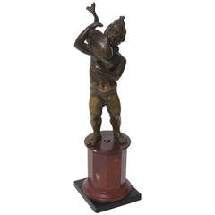 18th Century Bronze Sculpture of Cupid with Dolphin after Pompeii Excavations