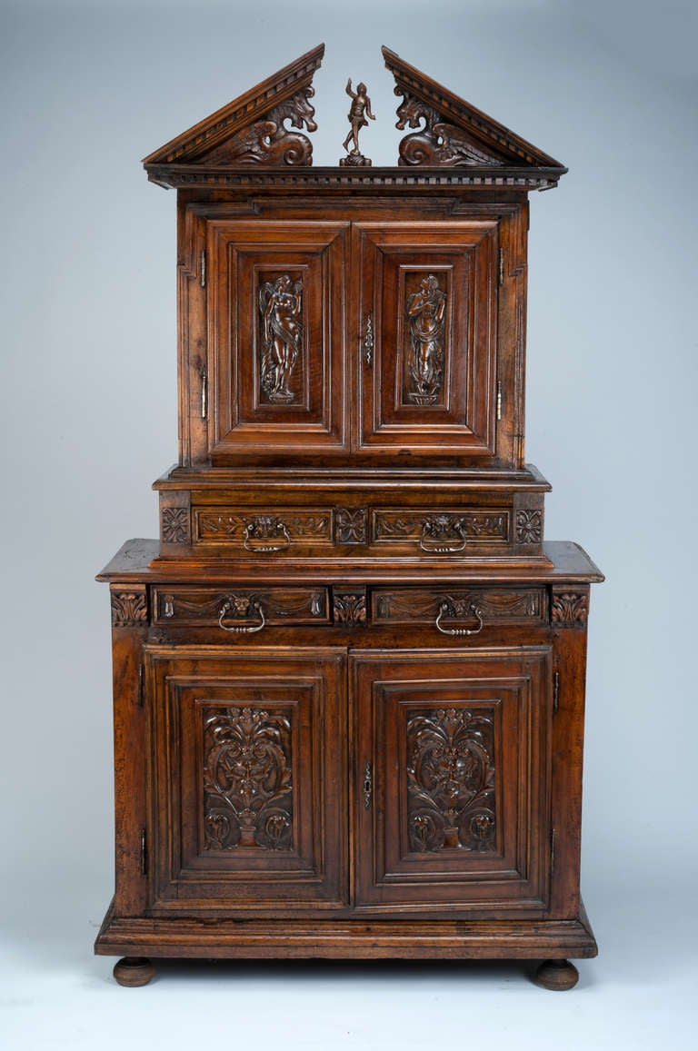 Late 16th C French Renaissance Walnut Cabinet For Sale At