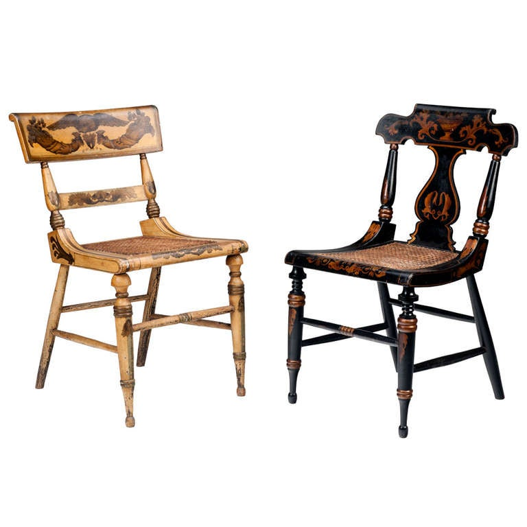 Two Unique Federal Tablet Backed Painted Side Chairs