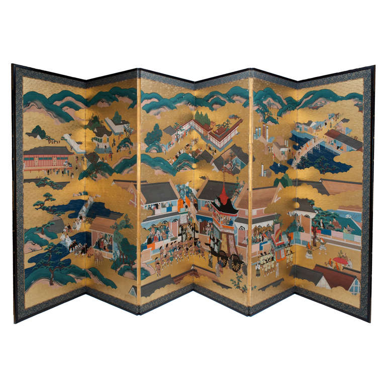 Japanese Edo Period (1615-1868) Six Panel Screen