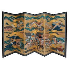 Japanese Edo Period (1615-1868) Six Panel Screen