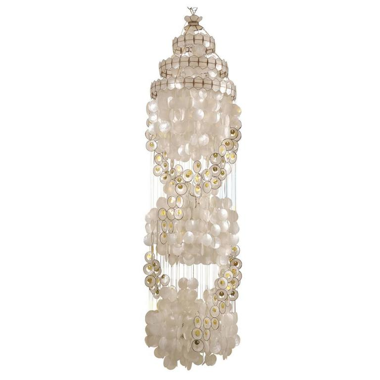 Vintage Capiz Shell Chandelier With Gold Accents At 1stdibs