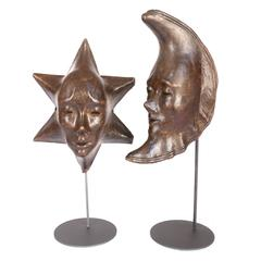 Pair of Late 19th Century Wooden Molds for Creating the Venetian Masks