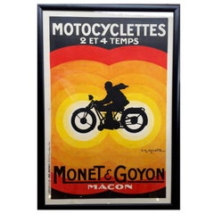 Great Vintage French Motorcycle Poster Framed
