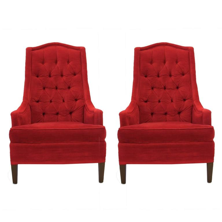 Excellent Pair Of Tufted Red Velvet Classic Regency Arm Or Club Chairs For