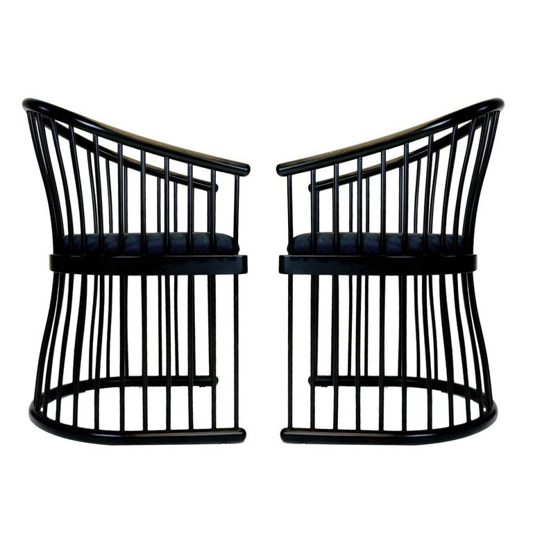 pair of jack lenor larsen black lacquer cage armchairs. Black Bedroom Furniture Sets. Home Design Ideas