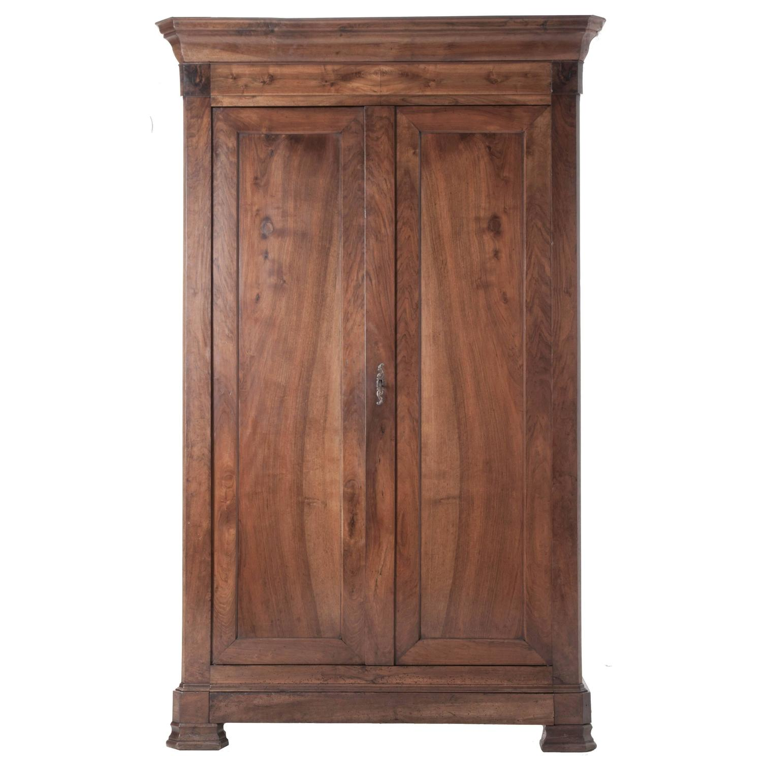 french louis philippe walnut armoire at 1stdibs. Black Bedroom Furniture Sets. Home Design Ideas