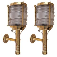 Pair of Brass Ship's Passageway Lights, Mid-Century