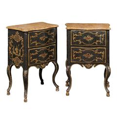 Pair of Florentine Black Painted Chinoiserie Petite Commodes from 19th Century
