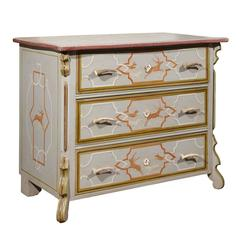 Mid-20th Century Paint Decorated Chest with Antler Handles