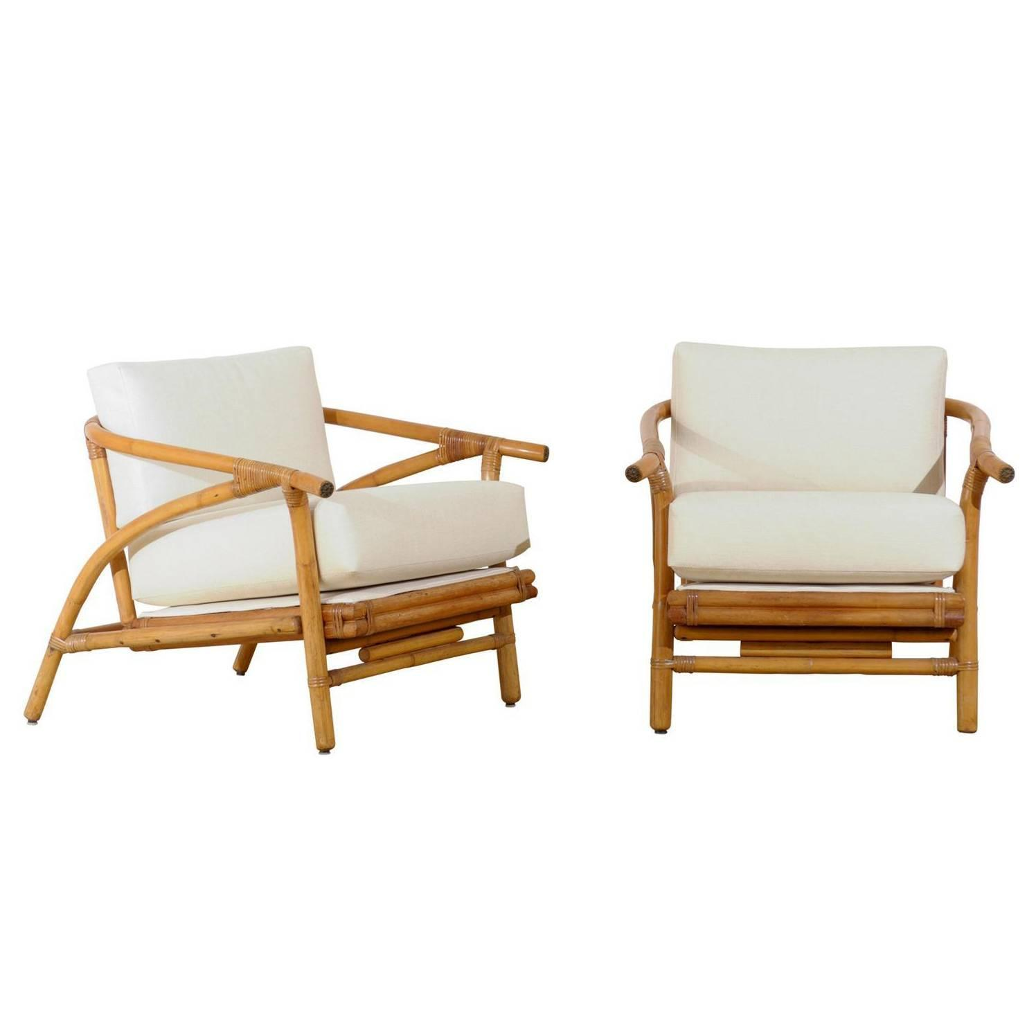 Stylish Pair of Modern Lounge Chairs by Ficks Reed For