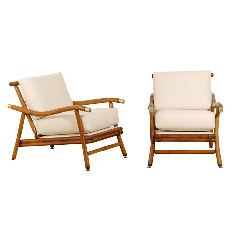 Restored Pair of Campaign Lounge Chairs by John Wisner for Ficks Reed