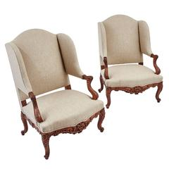 Pair of French Regence Style Wingback Armchairs, circa 1890