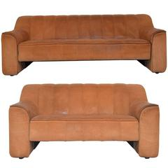 Matching Pair of Vintage De Sede DS 44 Sofa and Loveseat, 1970s