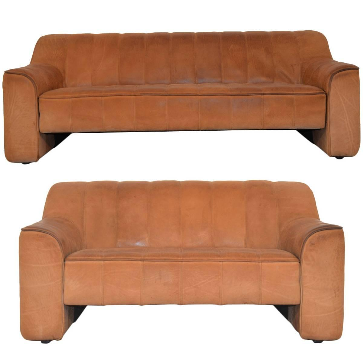 Matching Pair Of Vintage De Sede Ds 44 Sofa And Loveseat